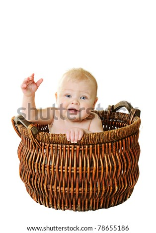 little girl in the basket on white background