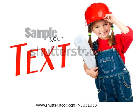 little girl in the construction helmet with a poster