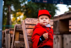 Little girl in the fall. Girl in a red coat. Fashionable baby in a red coat for a walk. Beautiful girl outdoor. Stylish little girl in the fall. Baby in the autumn park