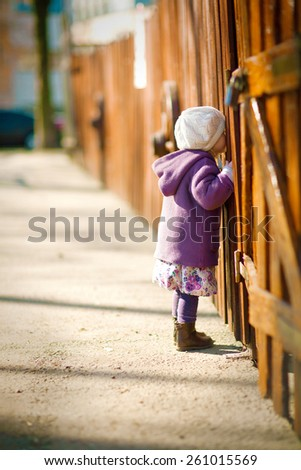 little girl in the purple coat and cream hat is looking through a hole in the wooden fence