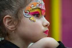 little girl in Theatrical makeup