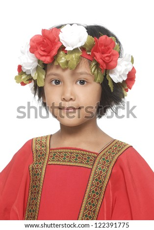 little girl in traditional dress-closeup