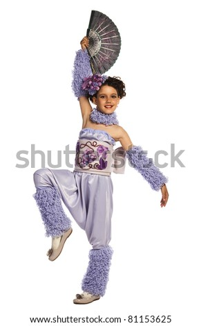 Little girl in violet costume with fan on white background