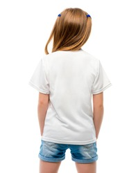 Little girl in white blank t-shirt prepared for your logo on white background, back view