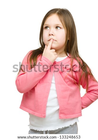 Little girl is thinking about something, isolated over white