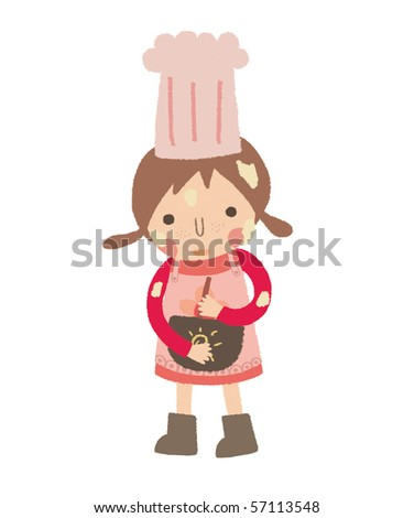 Little girl is trying to make a cake.
