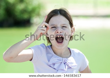 Little girl is  warning cry