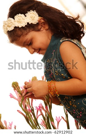 little girl isolated on white background - stock photo