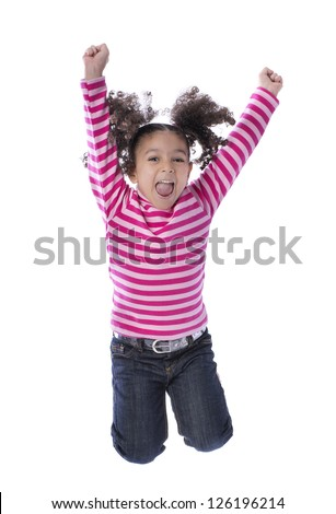 Little Girl Jumping with Joy Isolated on White Background