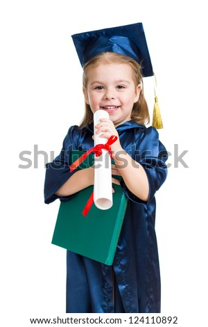 Little girl kid in academician clothes  reading book