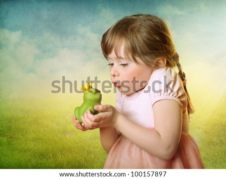 Little Girl Kissing A Frog Prince Stock Photo 100157897 : Shutterstock