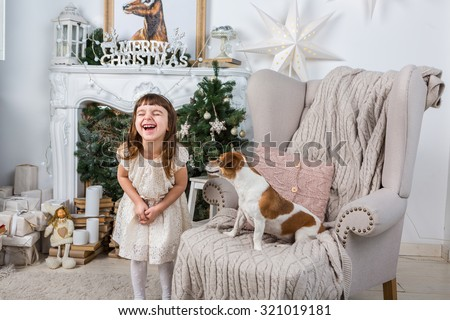 Little girl laughs joyfully laughing, dog, surprised and stares at her. Merry Christmas and Happy New Year interior. A series of photos
