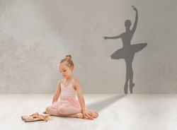 Little girl looking at pointe shoes, dreaming to become famous ballerina, shadow of ballet dancer on grey studio wall, collage. Adorable child imagining her dance success, making dream come true