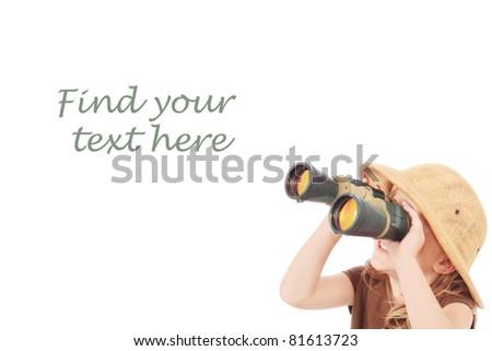 Little girl looking into binoculars