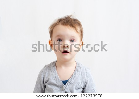 Little Girl looking surprised with open mouth