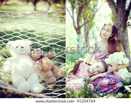 Little girl lying on my mother\'s knees with a teddy bear in the garden
