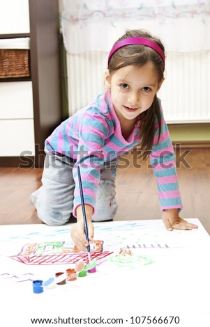 little girl making a draw concept