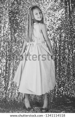 little girl model, wedding, fashion concept - girl dressed in blue dress smiling #1341114518