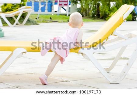 little girl on beach chair, Tobago