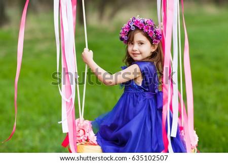 royalty free little girl on the swing little girl 450079546 stock
