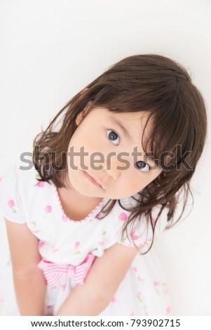 little girl on white background #793902715