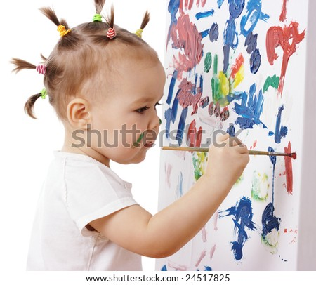 Little girl paint on a board, isolated over white