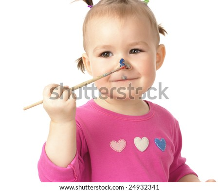 Little girl paint on her nose, isolated over white