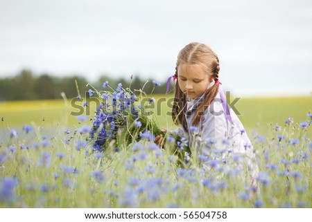Little girl picking blue flowers in a field