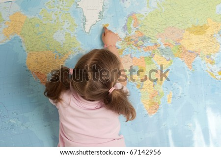 Little girl planning travel