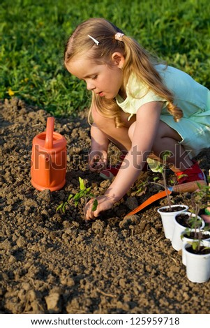 Little girl planting tomato seedlings in spring time - growing your food