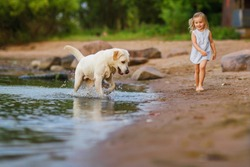 Little girl playing with labrador dog, near lake. Focus on the dog