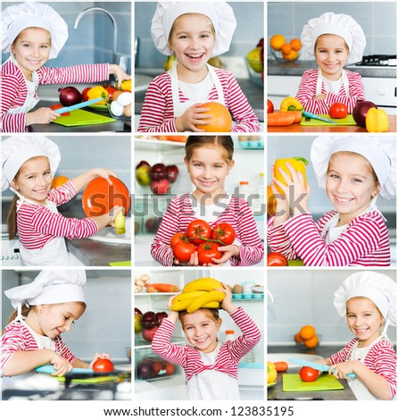 Little girl preparing healthy food on kitchen. Collage