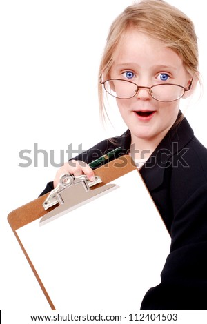 Little girl pretending to be a business woman
