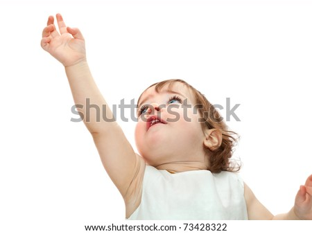little girl pulling hand up isolated on white background - stock photo