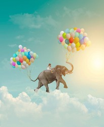 Little girl riding an elephant with balloons, flying in the sky; fantasy, metaphor, achievement concept