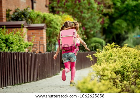 02ad843ee9 Free photos Little girl with a backpack run to school. back view ...