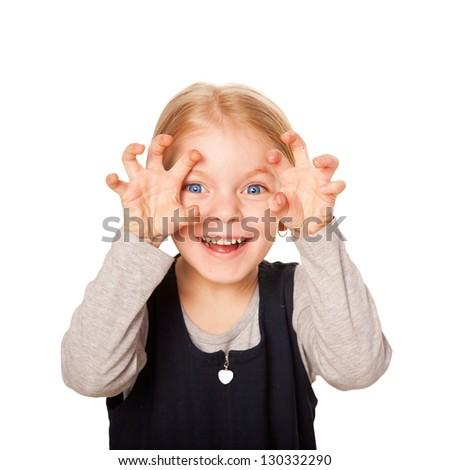 Little girl scaring. Isolated on white background - stock photo