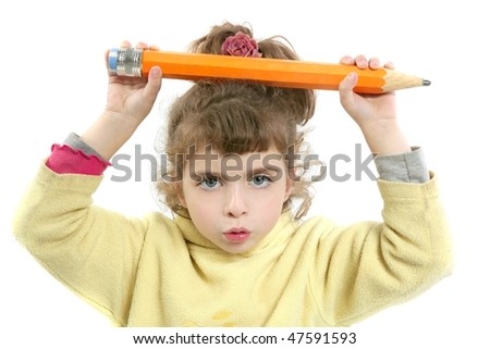 Little girl serious with big pencil in hand over white background