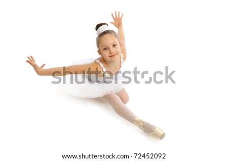 Little girl sitting at the ballet class