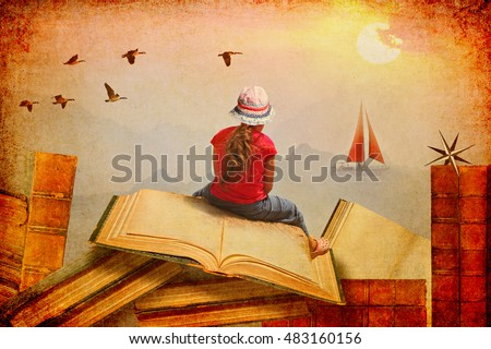 Little Girl sitting on the open books.She looks at sailing boat and migrating birds over the mountains.Childhood dreams, creature and education concept.Wondering world.Textured paper abstract collage