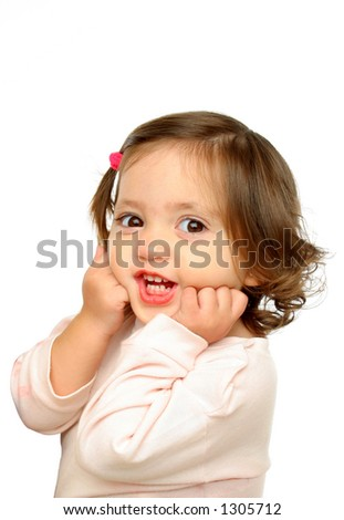 Little girl smiling at camera with a beautiful expression (portrait). More at my gallery - stock photo