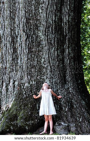 Little girl stands at the base of a very large oak tree and looks up.