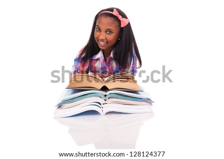 Little girl studying isolated on white background
