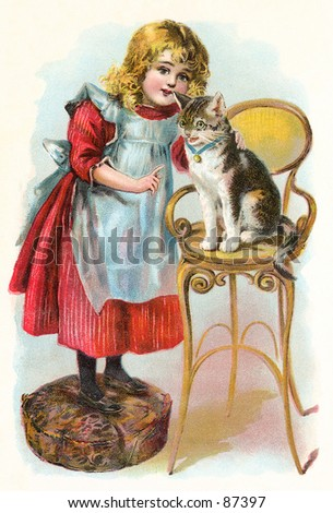 Little girl teaching her cat to obey - a vintage (c.1890) illustration. - stock photo