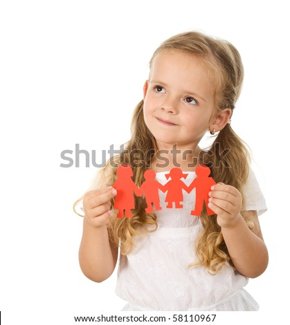 Little girl thinking of her family holding paper people - isolated