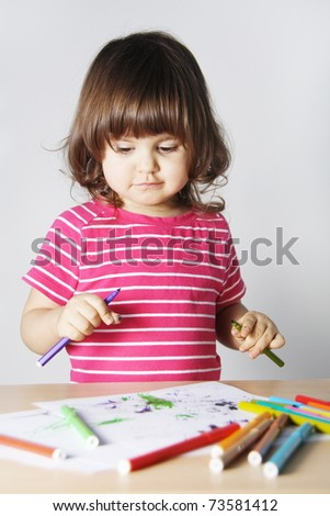 Little Girl Thinking What to Draw Portrait