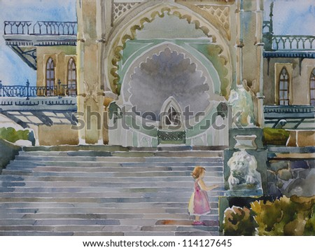 little girl touching the lion's sculpture on Lion's staircase in Vorontsovsky palace, Alupka, Ukraine