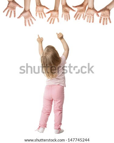 Little girl trying to reach stretched hands, rear view isolated on white
