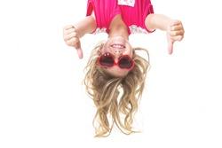 Little girl upside down