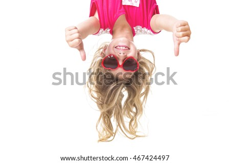 Little girl upside down #467424497
